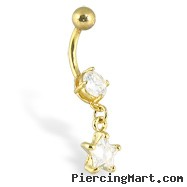 Gold Tone Belly Button Ring With Dangling Star