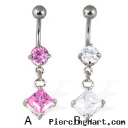 Belly button ring with dangling square gem