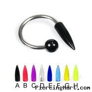 Acrylic spike  and ball circular barbell, 14 ga