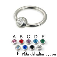 Captive bead ring with gem, 14 ga