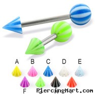 Beach ball and cone straight barbell, 14 ga