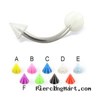 Beach ball and cone curved barbell, 14 ga