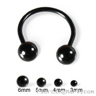 Black circular barbell with balls, 16 ga