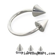 Steel cone horseshoe ring, 14 ga