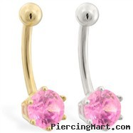 14K Gold belly button ring with 6-prong Pink Tourmaline