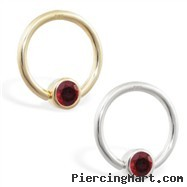14K Gold captive bead ring with Garnet
