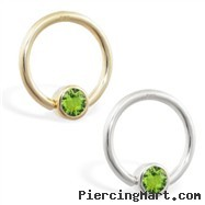 14K real yellow gold captive bead ring with Peridot