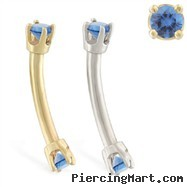 14K Gold internally threaded curved barbell with blue zirconia gems