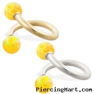 14K Gold twister barbell with Yellow opal balls , 14ga