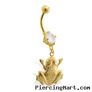 Gold Tone belly button ring with dangling frog