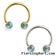 14K Gold Horseshoe/Circular Barbell with Peacock Akoya Pearl Balls