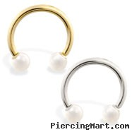 14K Gold Horseshoe/Circular Barbell with White Akoya Pearl Balls