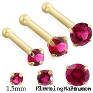 14K Gold Nose Bone with Round Ruby