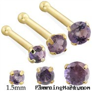 14K Gold Nose Bone with Round Alexandrite