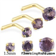 14K Gold L-shaped Nose Pin with Round Alexandrite