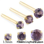 14K  Gold Long Customizable nose stud with Round Alexandrite