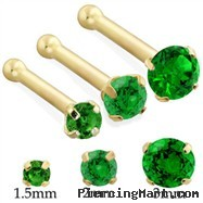 14K Gold Nose Bone with Round Emerald