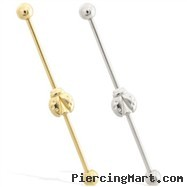 14K Gold Industrial Straight Barbell With Ladybug Charm