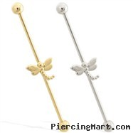 14K Gold Industrial Straight Barbell with Dragonfly charm