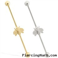 14K Gold Industrial Straight Barbell with Bumble Bee charm