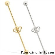 14K Gold Industrial Straight Barbell with Fleur-de-Lis charm
