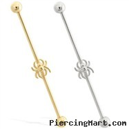 14K Gold Industrial Straight Barbell With Spider Charm