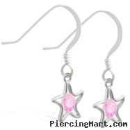 Sterling Silver Earrings with dangling Pink Tourmaline (Imitation) jeweled star
