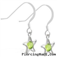 Sterling Silver Earrings with dangling Peridot (Imitation) jeweled star