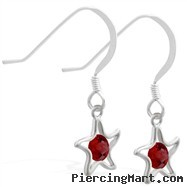 Sterling Silver Earrings with dangling Garnet (Imitation) jeweled star