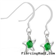 Sterling Silver Earrings with dangling Emerald (Imitation) jeweled star