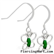 Sterling Silver Earrings with dangling Emerald jeweled butterfly