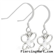Sterling Silver Earrings with dangling CZ jeweled butterfly