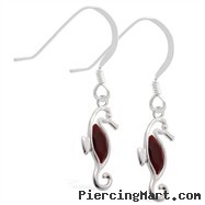 Sterling Silver Earrings with dangling Garnet jeweled seahorse