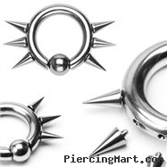 316L Surgical Steel Captive Bead Ring w/ 6  Internally Threaded Spikes, 8ga