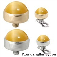 14K  Gold internally threaded dermal top ball with 4mm Tiger Eye Honey Cabochon