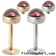 14K Gold internally threaded labret with 4mm Garnet Cabochon