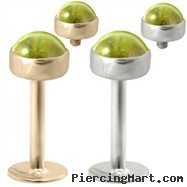 14K Gold internally threaded labret with 4mm Peridot Cabochon