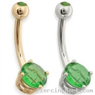 14K Gold (Nickel free) with Emerald Checkered Gem Navel Ring, 14 ga