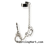 Ear stud with dangling hand cuff