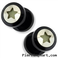 Pair Black UV Screw Fit Plug with Glow in the Dark Hollow Star