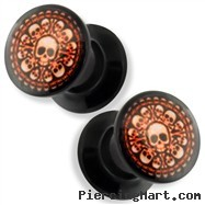 Pair Black Acrylic Double Flare Flat Screw Fit Plug with Chamber of Bones Print