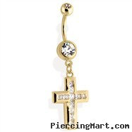 14Kt Gold Tone Navel Ring With Multi Paved CZ Cross
