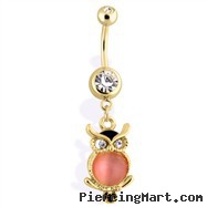 14Kt Gold Tone Owl Navel Ring With Cat