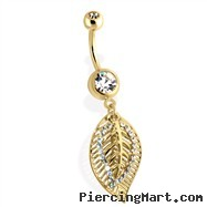 14Kt Gold Tone Navel Ring with Multi Paved Leaf