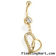 14kt Gold Tone Navel Ring with Multi Paved Heart
