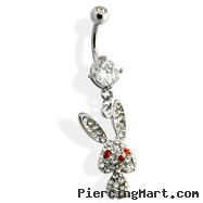 Steel Belly Ring with CZ covered bunny