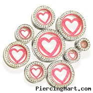 Pair of Steel Tunnels with Pink Glitter Heart