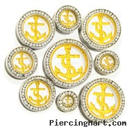 Pair Of Gold Glitter Anchor Tunnels