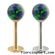 14K Gold Labret with Blue Green Opal Balls