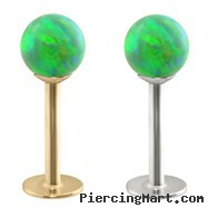 14K Gold Labret with Green Opal Balls